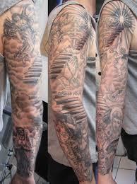 Grey Ink Angel Full Sleeve Tattoo For Men