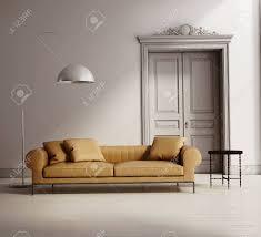 zeitgenössische klassischen wohnzimmer beige ledersofa holzboden
