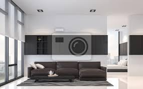 moderne schwarz weiß wohnzimmer und schlafzimmer interieur 3d rendering poster myloview
