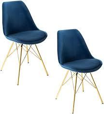 invicta interior design stuhl 2er set scandinavia meisterstück samt dunkelblau goldene beine esszimmerstuhl konferenzstuhl