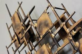 Modern Metal Wall Sculpture Creates Vintage Mid Century Hanging Art Artwork Brass
