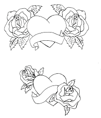 Heart And Rose Coloring Pages Colouring Of Hearts Roses With Wings Best Images