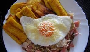 Platanos Fritos With Fried Egg And Ham