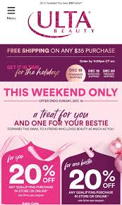 Another 20% Coupon From Ulta… – Frugal Makeupp Junkie Ulta Free Shipping On Any Order Today Only 11 15 Tips And Tricks For Saving Money At Business Best 24 Coupons Mall Discounts Your Favorite Retailers Ulta Beauty Coupon Promo Codes November 2019 20 Off Off Your First Amazon Prime Now If You Use A Discover Card Enter The Code Discover20 West Elm Entire Purchase Slickdealsnet 10 Of 40 Haircare Code 747595 Get Coupon Promo Codes Deals Finders This Weekend Instore Printable In Store Retail Grocery 2018 Black Friday Ad Sales Purina Indoor Cat Food Vomiting Usa Swimming Store