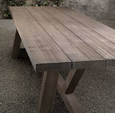 RH French Beam Weathered Teak Rectangular Dining Table 120L X 40W