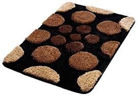 badteppich 50x80 cm schwarz braun beige punkte retro