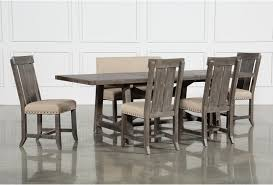 Jaxon Grey 6 Piece Rectangle Extension Dining Set W Bench Wood Chairs