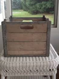 Image Is Loading Vintage Wood And Metal Milk Crate