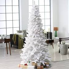 Pre Lit Flocked Christmas Tree by 7 5 Ft Pre Lit Deluxe White On White Flocked Christmas Tree