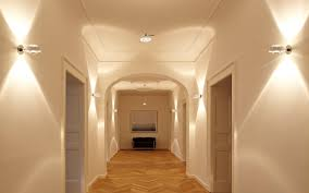 lighting ideas flush mount lights on wooden hallway ceiling for