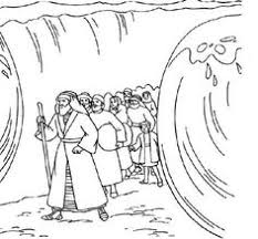 Moses Crosses Red Sea Coloring Page Sketch