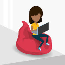 Young Woman Sitting On A Bean Bag Chair And Using Laptop Computer Icon Over White