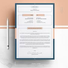 Modern Resume Template Free Cover Letter Letterhead Etsy