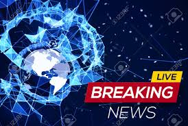Breaking News Live Banner On Blue Glowing Plexus Structure Background With Earth Planet Stock Vector