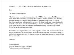 22 Re mendation Letters for a Friend Free Sample Example