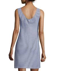 theory mivrill sailor striped stretch cotton dress in blue lyst