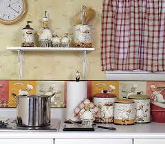 Kitchen Theme Decor Sets Country Themes Funny Chef Patterned Canisters Red Blue And