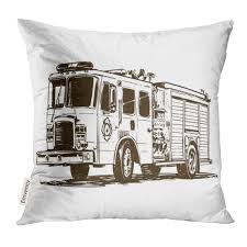 100 Fire Truck Drawing Amazoncom UPOOS Throw Pillow Cover Black Automobile