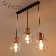 effektvolle hängeleuchte in kupfer vintage design 3x e27 bis zu 60 watt 230v aus glas metall küche esszimmer pendelleuchte hängele pendelle