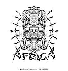 Decorative Illustration With African Mask Isolated On White Hand Drawn Design For Print Label