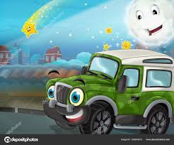 Cartoon Funny Looking Military Road Truck Driving City Parking ...