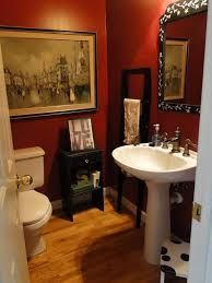 Red Wall Color With Antique Wall Decor Using White Pedestal Sink For ... Red Bathroom Babys Room Bathroom Red Modern White Grey Bathrooms And 12 Accent Ideas To Fall In Love With Fantastic Design Floor Tub Small Master Bath Paint Pating Decor Design Orange County Los Angeles Real Blue Yellow Accsories Gray Kitchen And Inspiration Behr Style Classic Toilet Retro Dilemma Colors Or Wallpaper For Dianes Kitschy Interior Mesmerizing Fniturered