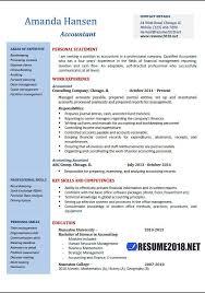 Accountant Resume Examples 2018 Curriculum Vitae Sample