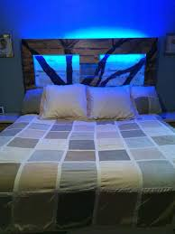 Reclaimed Pallet Headboard With Blue Lights