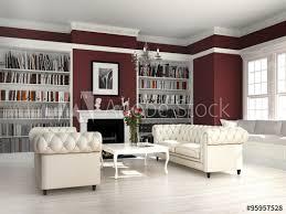 wohnzimmer mit kamin im country style stock illustration