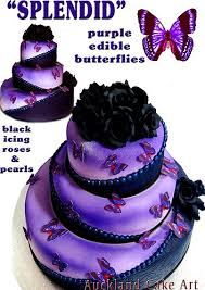 SPLENDID PURPLE BUTTERFLIES BLACK ROSES WEDDING CAKE By Anita Auckland Cake Art Via
