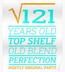 Square Root Of 121 11 Years Old Birthday Tshirt Poster