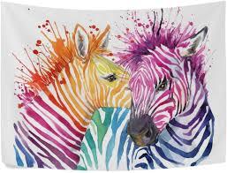 60x40 watercolor rainbow zebra polyester home decor