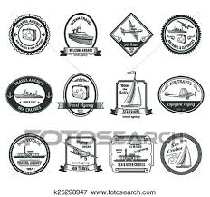 Clip Art Of Cruise Travel Agency Tours Labels K25298947