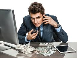bureau vall guing successful businessman going to a call by cell phone stock