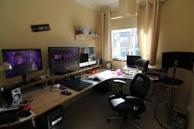 Office Workspace Home Gaming Desk Setup Ideas Ultimate Computer ... Computer Desk Designer Glamorous Designs For Home Incredible Kids Photos Ideas Fresh Room Layout Design 54 Office Institute Comfortable At Best Stylish With Hutch Gallery Donchileicom Computer Room Photo 5 In 2017 Beautiful Pictures Of Decorations Outstanding Long Curved Monitor 13 Ultimate Setups Cool Awesome Class With Classroom Design Your Home Office Picture Go124 7502