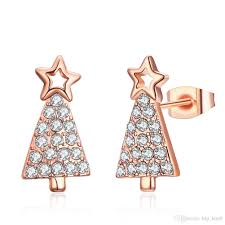 Discount European Christmas Tree Earrings Rose Gold Color Cz Crystal Stud For Women GirlS Xmas Gift Pendientes Brincos Enamel From