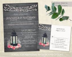 Rustic Lantern Wedding Invitations Set Printable Lantern