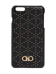 SALVATORE FERRAGAMO STUDDED LEATHER IPHONE 6 PLUS CASE BLACK WOMEN