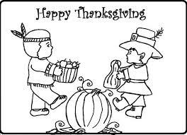 Two Children Of Indian And Pilgrim Celebrating Thanksgiving Coloring Sheet