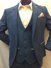 Men Suits Blue Tweed Herringbone Checkered Vintage 3 Piece Suit 2017