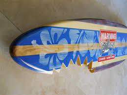 Decorative Surfboard With Shark Bite by Sharkbite Blue Vintage Horizontal Surfboard Wall Art Shark