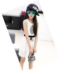 2017 New Summer Girls Sleeveless Dress Slim Korean Fashion