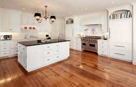 L Shape Kitchen With Maple Plank Flooring