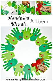A Handprint And Fingerprint Christmas Wreath With Poem Simple Kids Craft Suitable For
