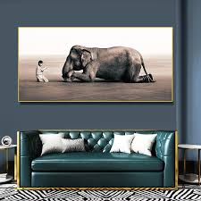 leinwand religiöse malerei hd mönch predigt frommen elefanten poster tier bild wohnzimmer wand kunstdruck dekorative gemälde benutzerdefinierte