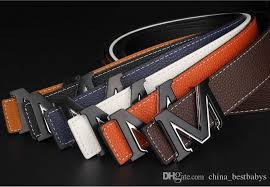 6colour men Belt Smooth Buckle Hollow Letter M Designer Belt Brown