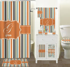 Chevron Print Bathroom Decor by Orange U0026 Blue Stripes Hand Towel Full Print Personalized