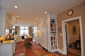 built in bookshelf spaces traditional with galley kitchen ceiling