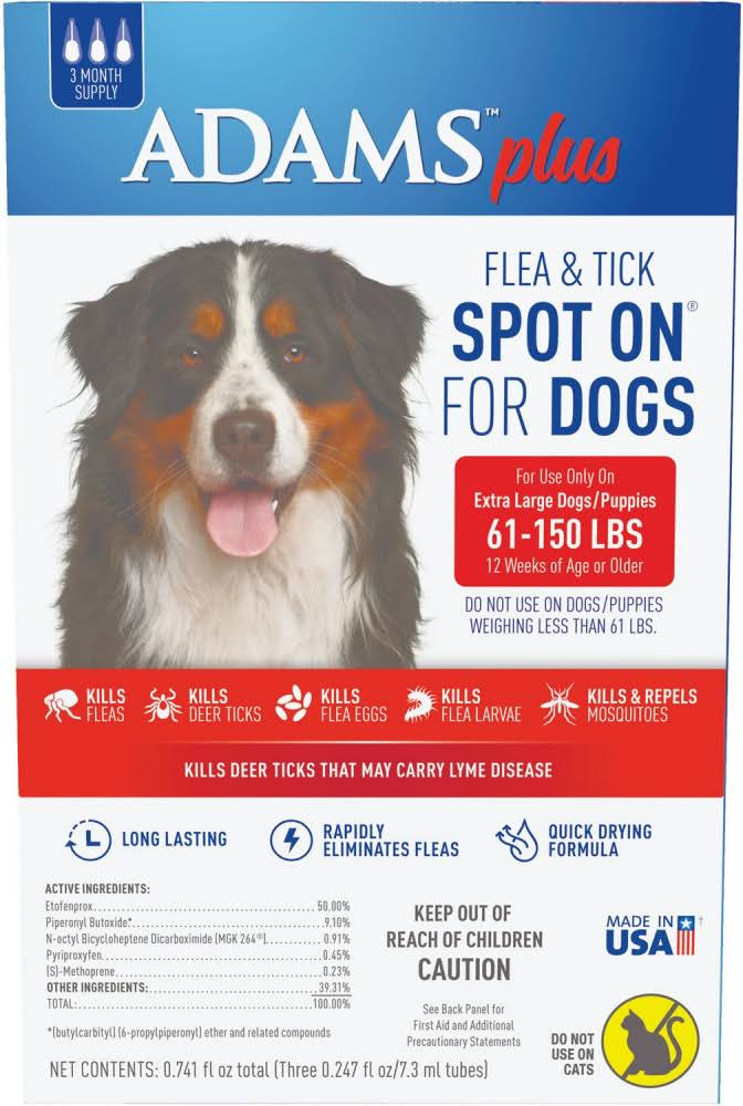 Adams Plus Flea & Tick Spot on for Extra Large Dogs (61-150-lbs), 3
