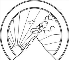Mountain Sunshine Coloring Page